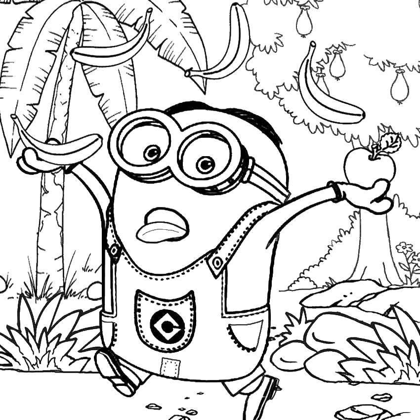 Раскраска миньоны Скачать ,миньоны. фрукты, мультфильмы,.  Распечатать