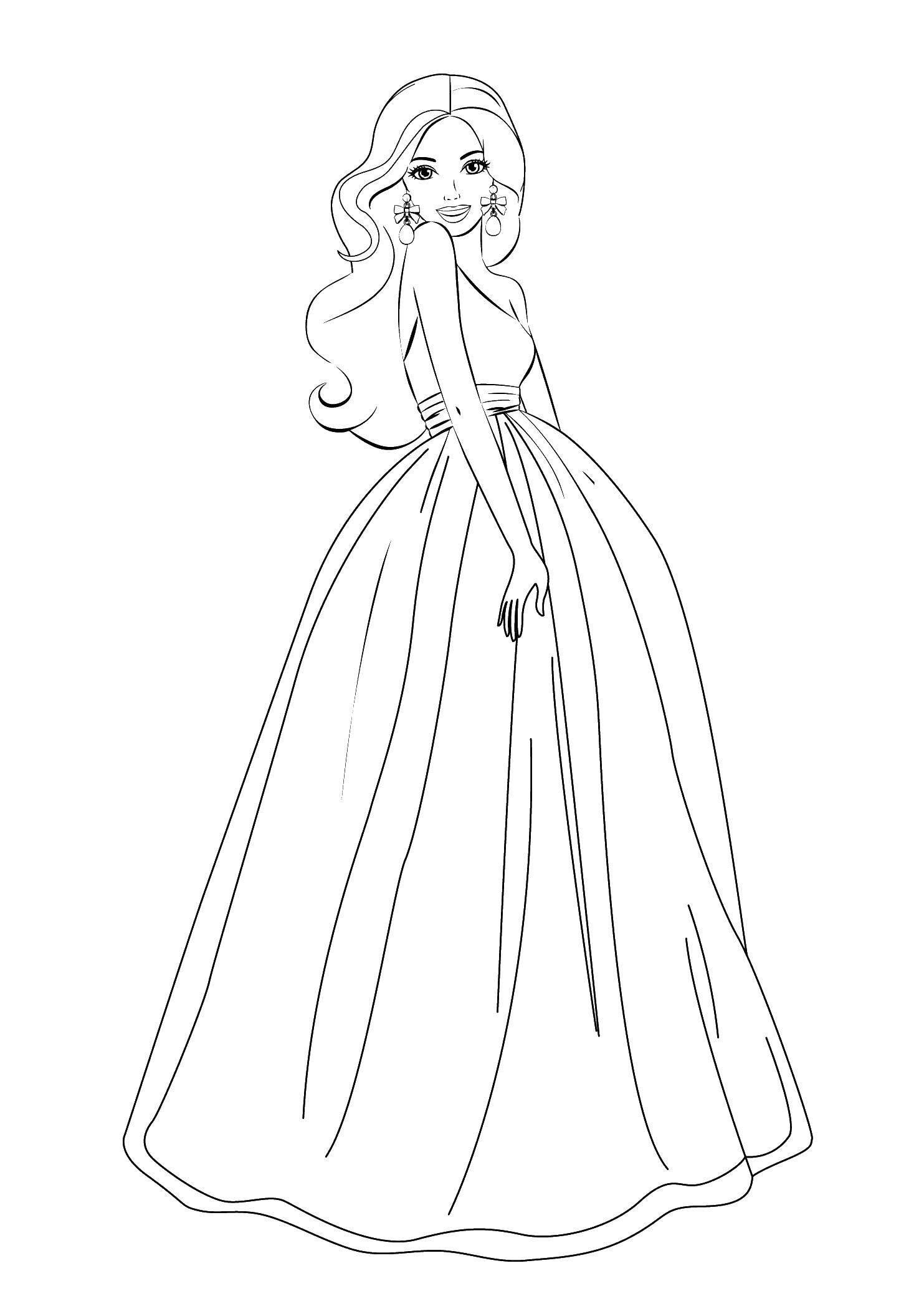 Раскраска Девушка в платье Скачать ,девушка, платье, серьги,.  Распечатать