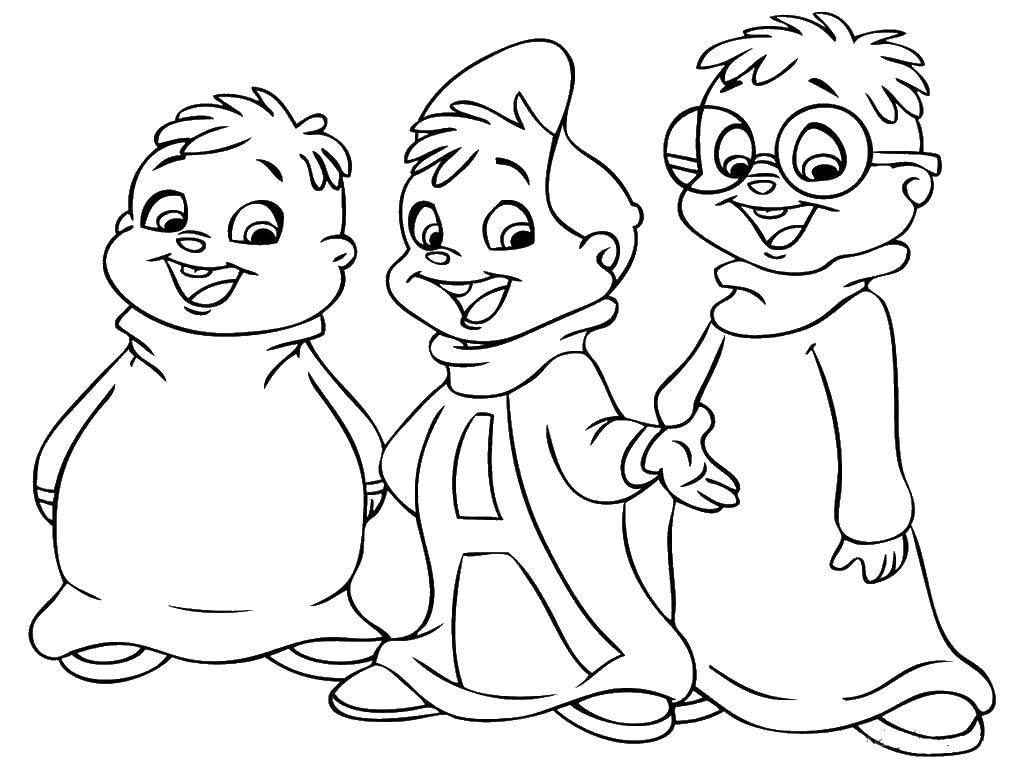 Раскраска Элвин с братьями Скачать ,Элвин, бурундуки, очки,.  Распечатать