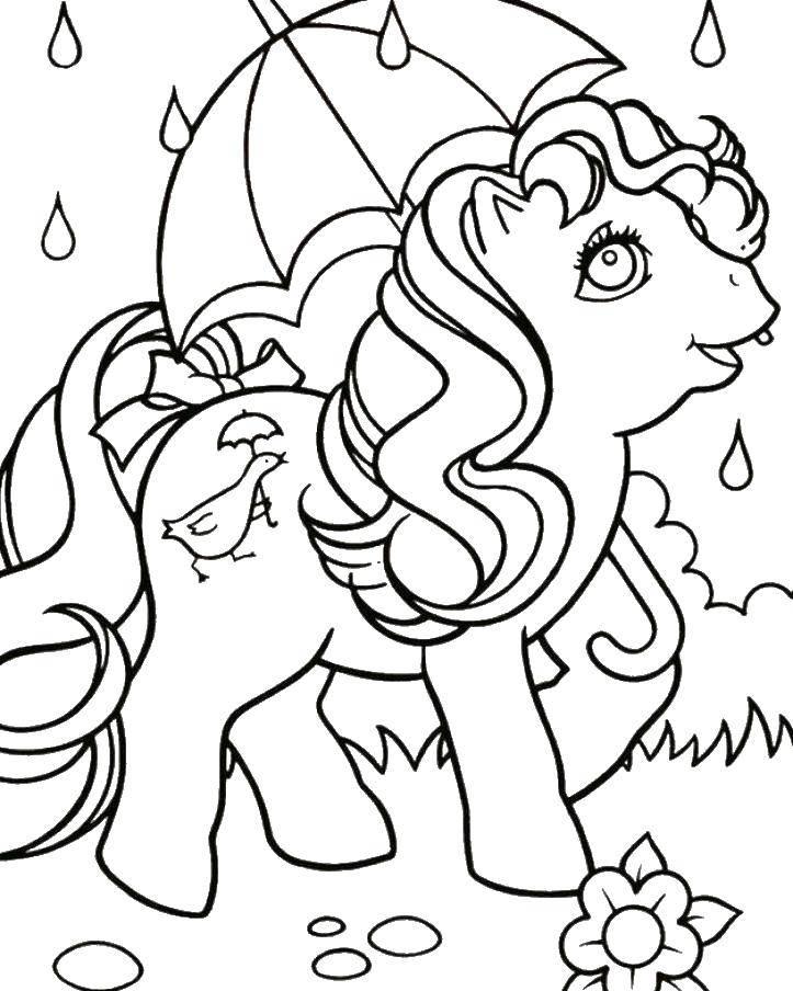 Раскраска Пони с зонтиком под дождем. Скачать пони.  Распечатать ,Пони,