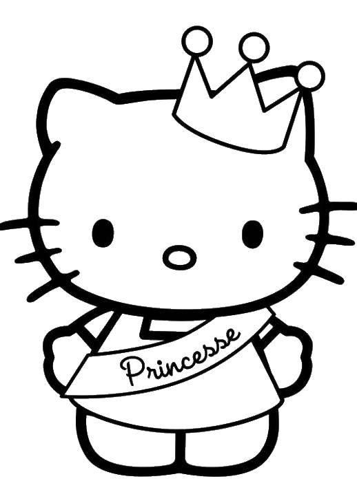 Раскраска Принцесса хэллоу китти. Скачать хэллоу китти, принцессы, для девочек.  Распечатать ,Хэллоу Китти,
