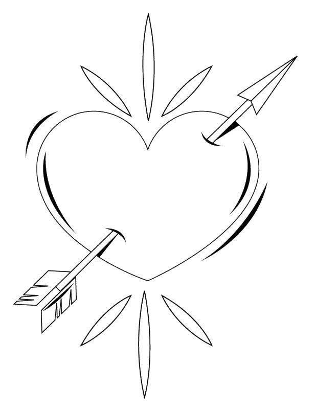 Раскраска Стрела проткнула сердце Скачать Сердечко, стрела, любовь.  Распечатать ,день святого валентина,