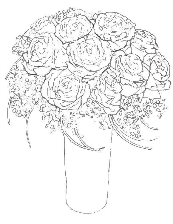 Раскраска цветы Скачать контур, ромашка.  Распечатать ,Контуры цветка для вырезания,