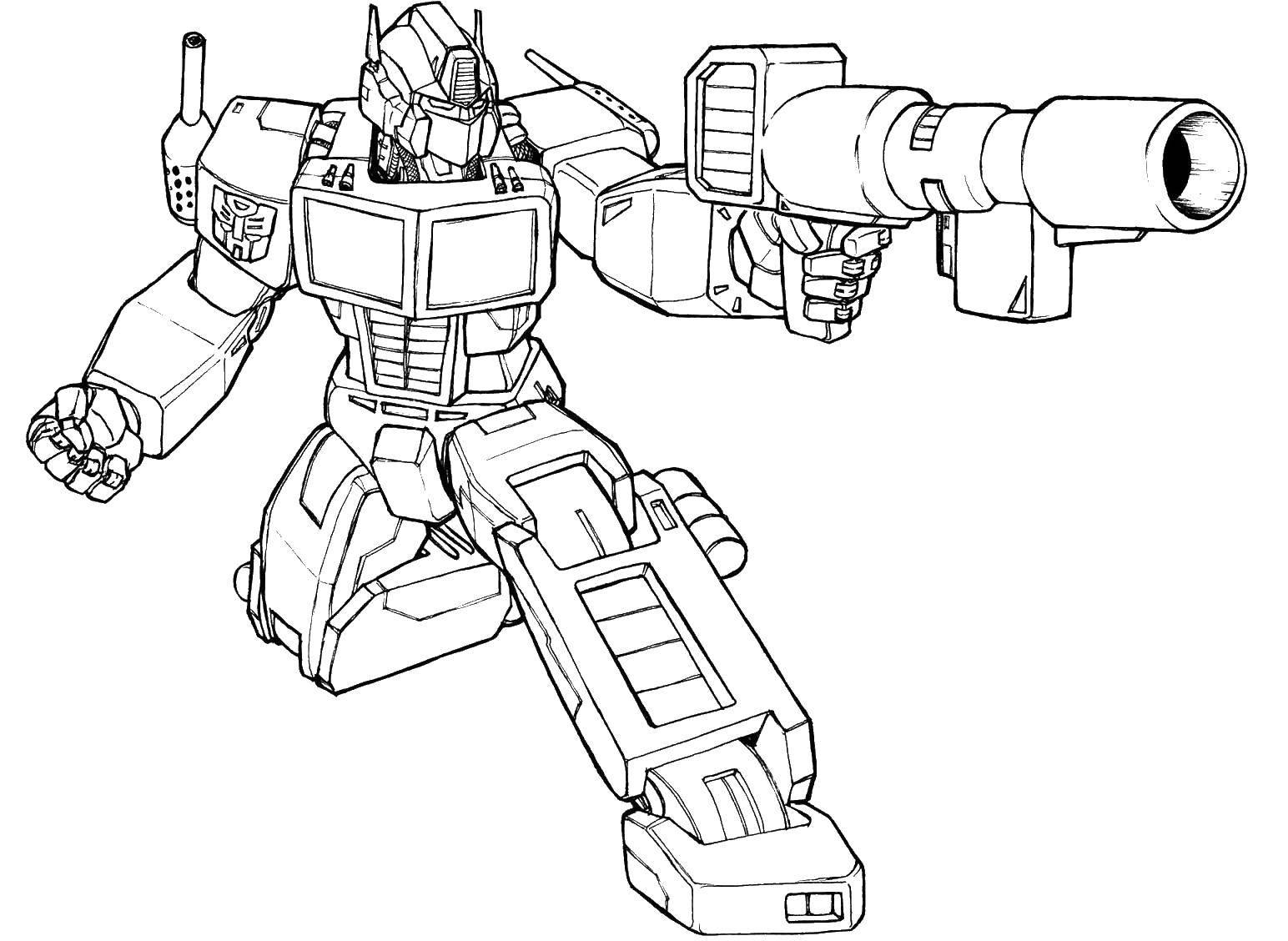 Раскраска Трансформер стрелает. Скачать трансформеры, роботы, мультфильмы, автомат.  Распечатать ,трансформеры,