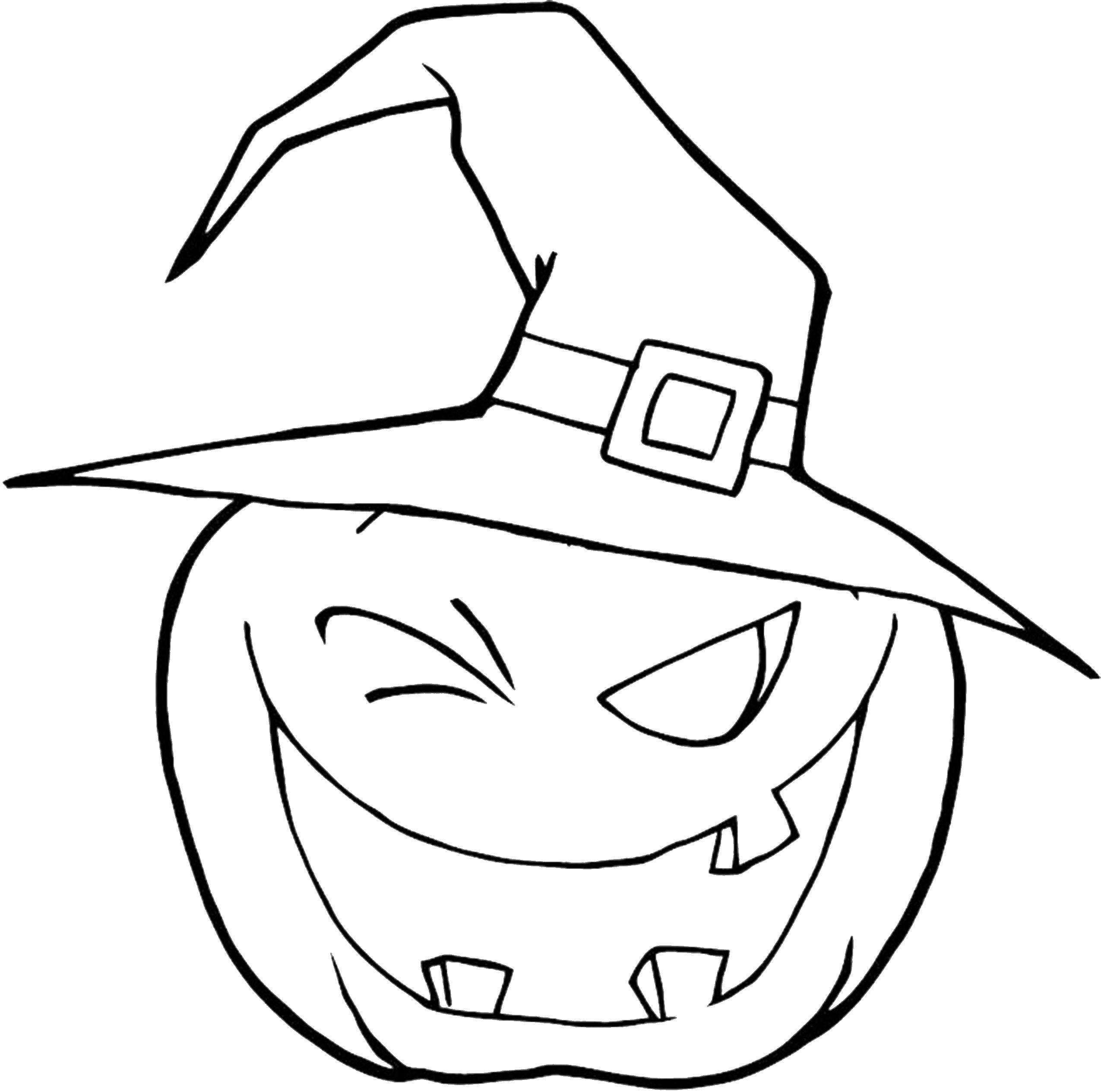 Раскраска Тыква в шляпе Скачать тыквы, хэллоуин, праздник, шляпа.  Распечатать ,тыква на хэллоуин,