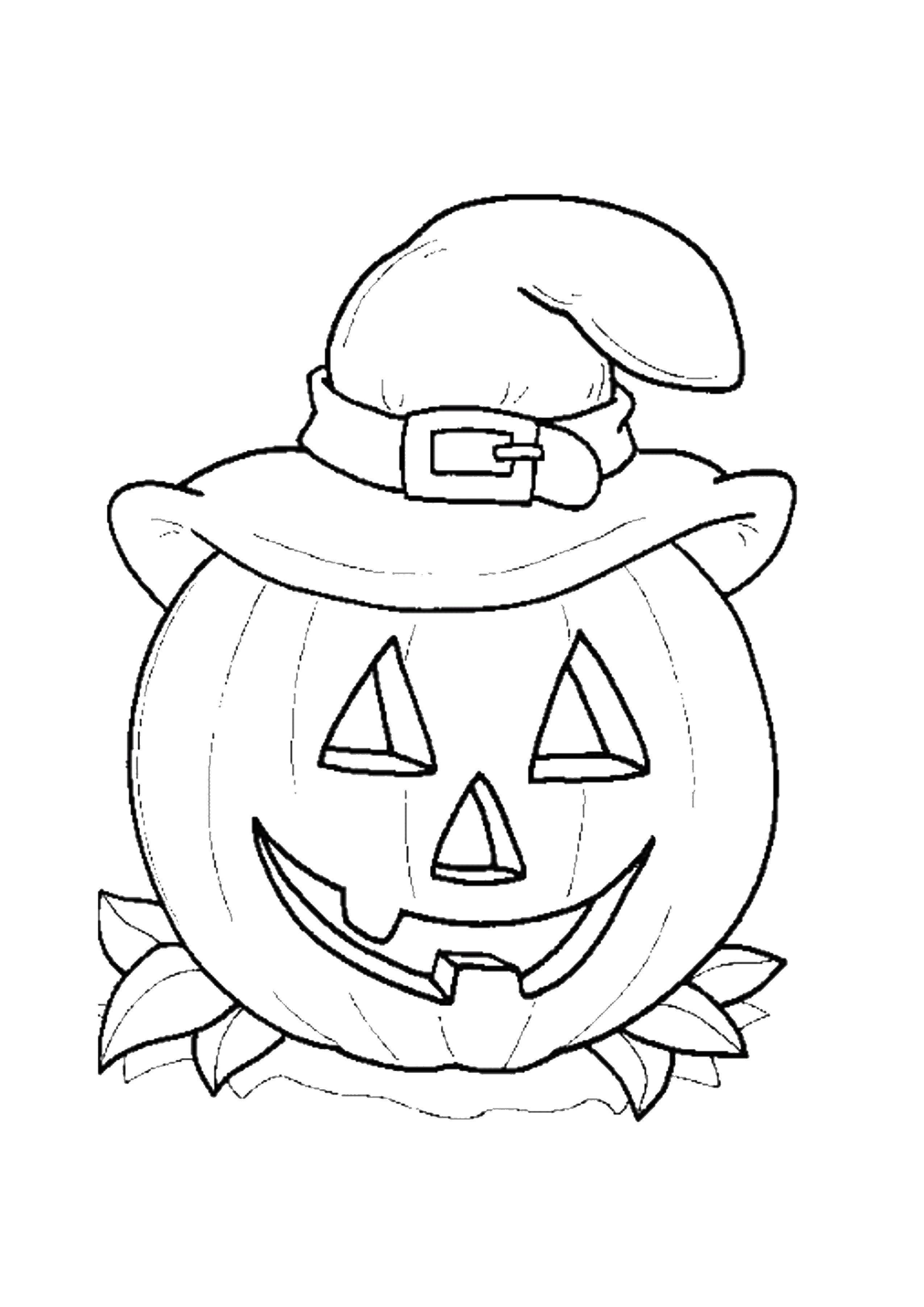 Раскраска Тыква в шляпе Скачать тыква, шляпа, глаза, рот.  Распечатать ,Хэллоуин,