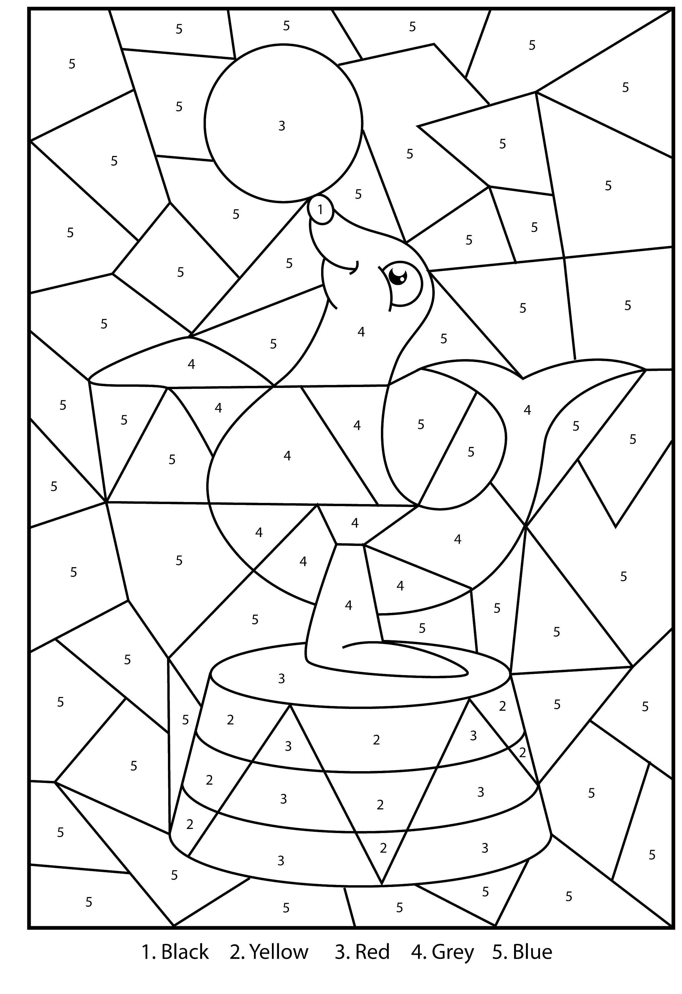 Название: Раскраска Тюлень с мячом. Категория: По номерам. Теги: тюлень, мяч, цирк.