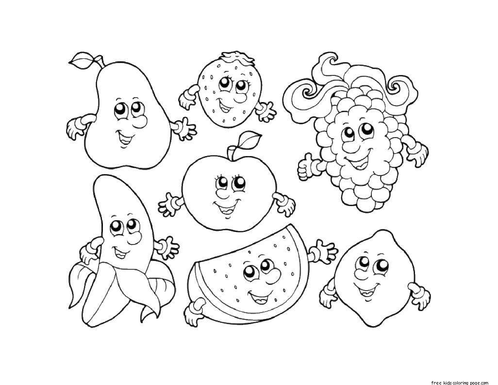 Раскраска фрукты Скачать ,зож, здоровье, мальчик,.  Распечатать