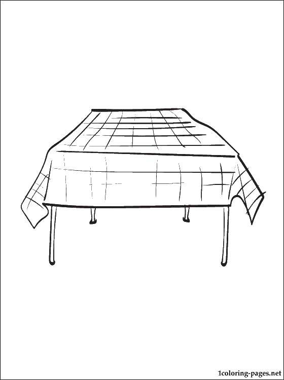 Online Coloring Pages Coloring Page A Table With A Tablecloth Table
