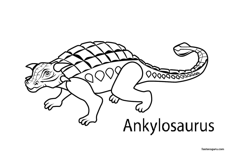 Раскраска Анкилозавр на 4 лапках Скачать Динозавры.  Распечатать ,парк юрского периода,