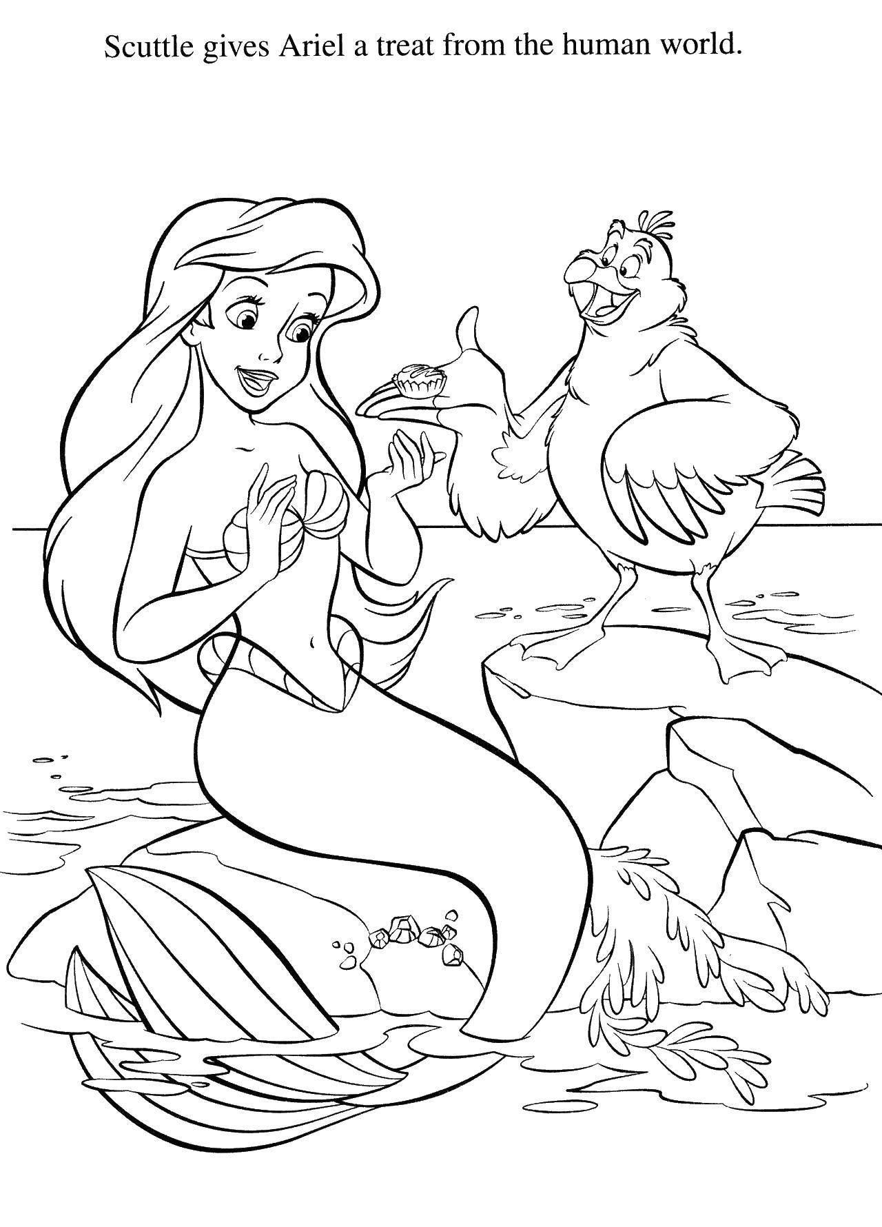 Раскраска Ариэль сможет жить в мире людей Скачать Дисней, русалочка, Ариэль.  Распечатать ,Русалочка,