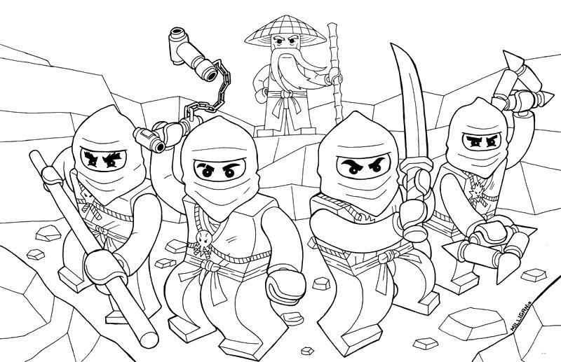 Раскраска Команда ниндзя из конструктора лего Скачать Ниндзя, конструктор, Лего.  Распечатать ,лего ниндзя го,