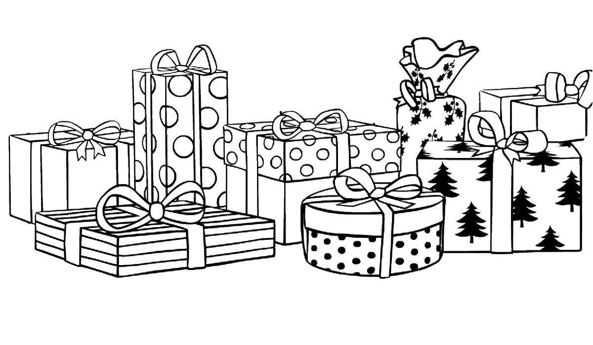 Раскраска Красиво упакованные подарки Скачать Подарки, праздник.  Распечатать ,с днем рождения надпись,