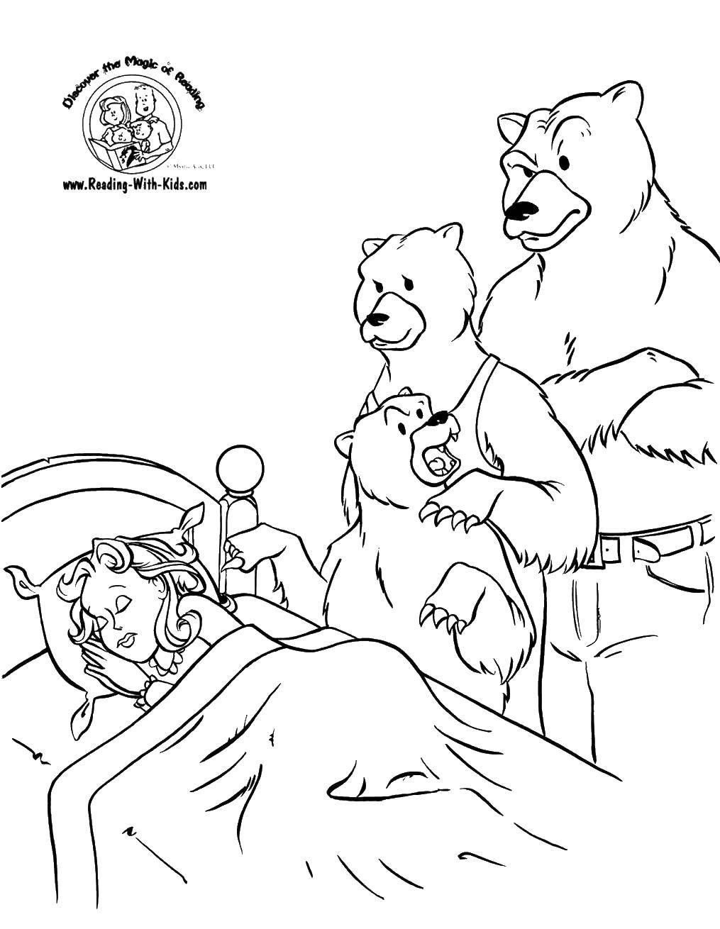 Раскраска Маша уснула дома у медведей Скачать Сказки, Три Медведя.  Распечатать ,Сказки,