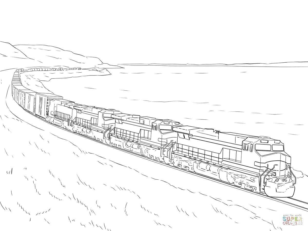 Раскраска Очень длинный поезд Скачать Поезд, рельсы.  Распечатать ,поезд,