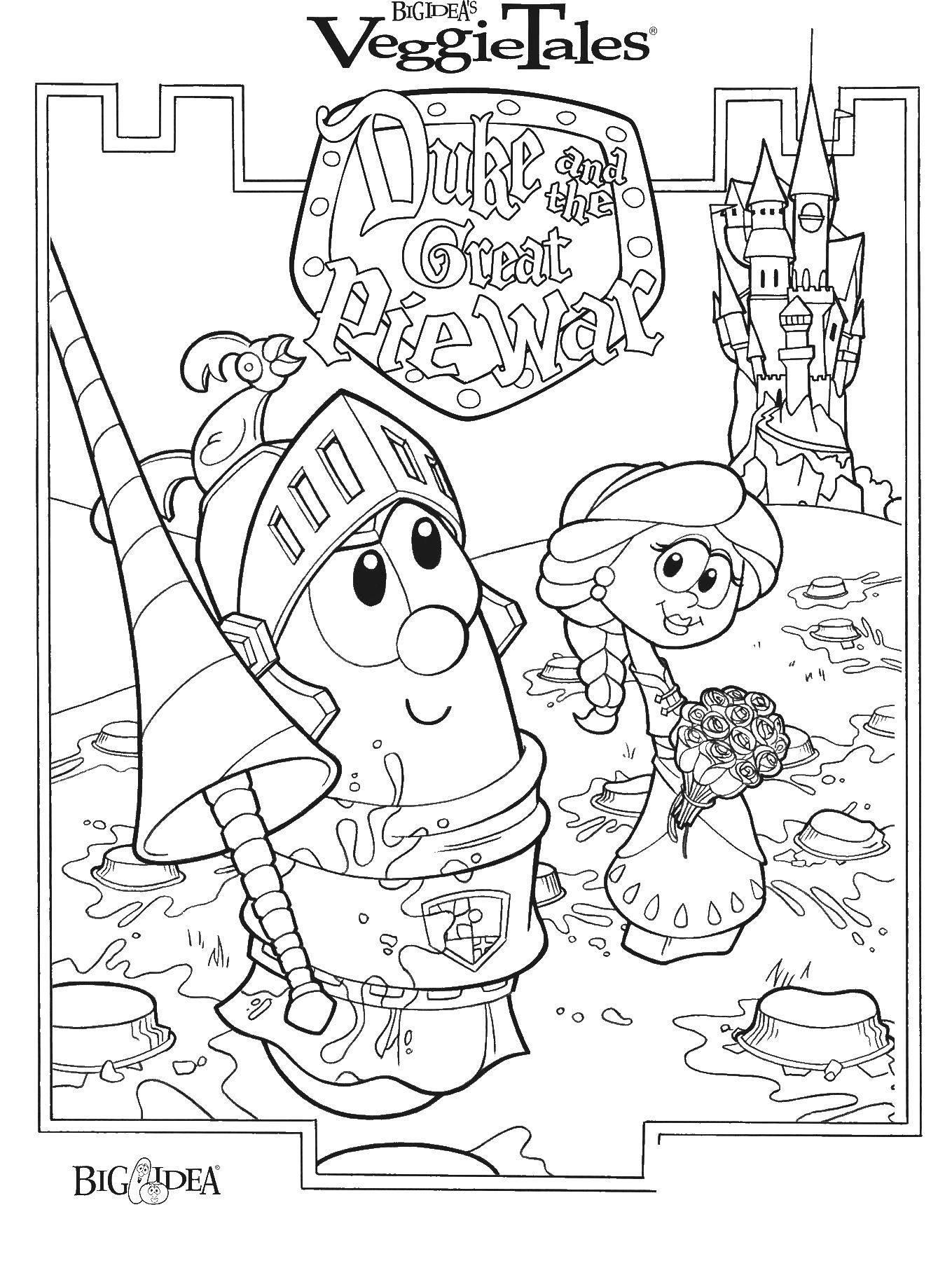 Раскраска Овощная принцесса и рыцарь Скачать овощи, короли.  Распечатать ,Сказки,
