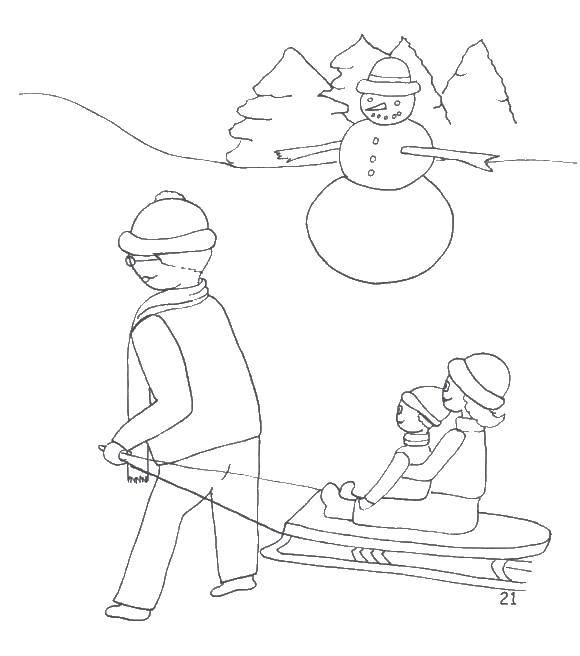 Раскраска Папа катает детей на санках. Скачать папа , санка, снег.  Распечатать ,раскраски зима,