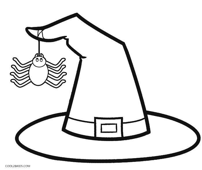 Раскраска Паук на шляпе ведьмы. Скачать Хэллоуин, ведьма.  Распечатать ,Хэллоуин,