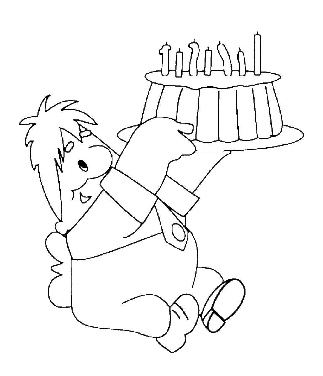 Раскраска С днём рождения, карлсон Скачать Праздник, день рождения.  Распечатать ,с днем рождения надпись,