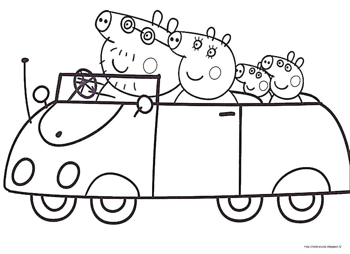 Раскраска Семья свинки пеппы в машине Скачать ,свинка пеппа, мультфильмы, семья, свиньи,.  Распечатать