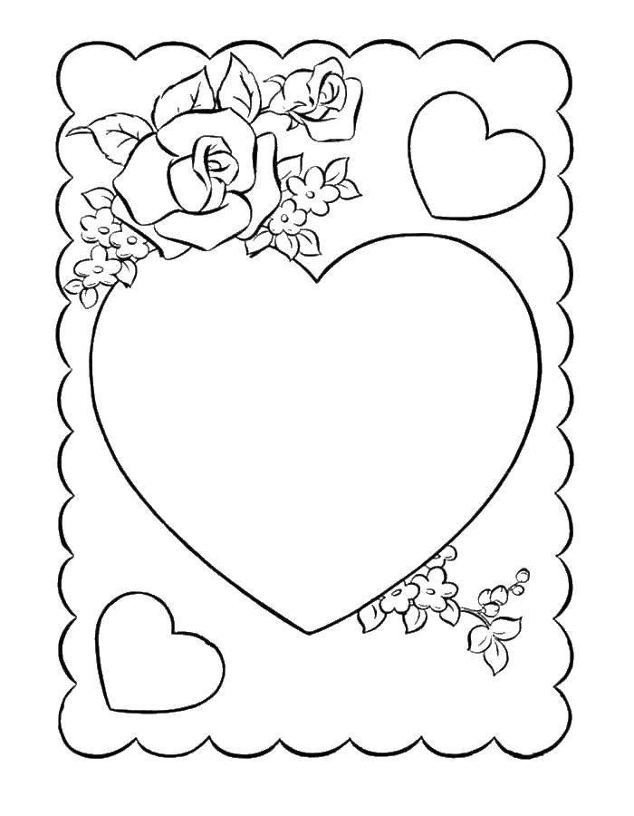 Раскраска Сердце и роза Скачать Сердечко,  любовь, роза.  Распечатать ,день святого валентина,