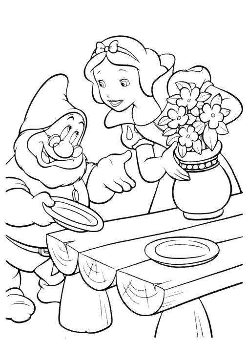 Раскраска Цветы для белоснежки Скачать Дисней, Белоснежка, 7 гномов.  Распечатать ,белоснежка,