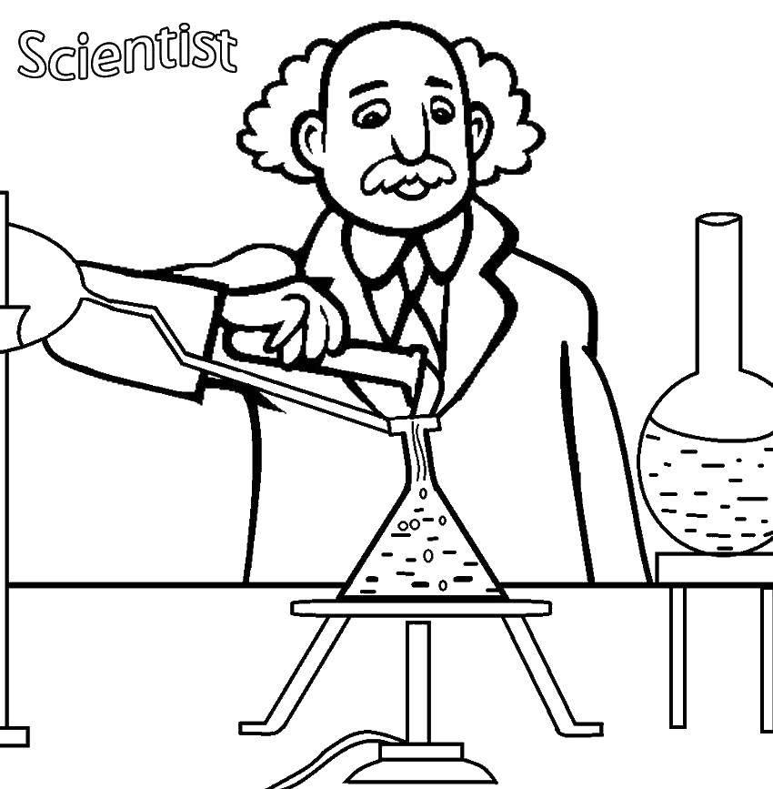 Раскраска Учёный проводит опыты Скачать Наука.  Распечатать ,наука,