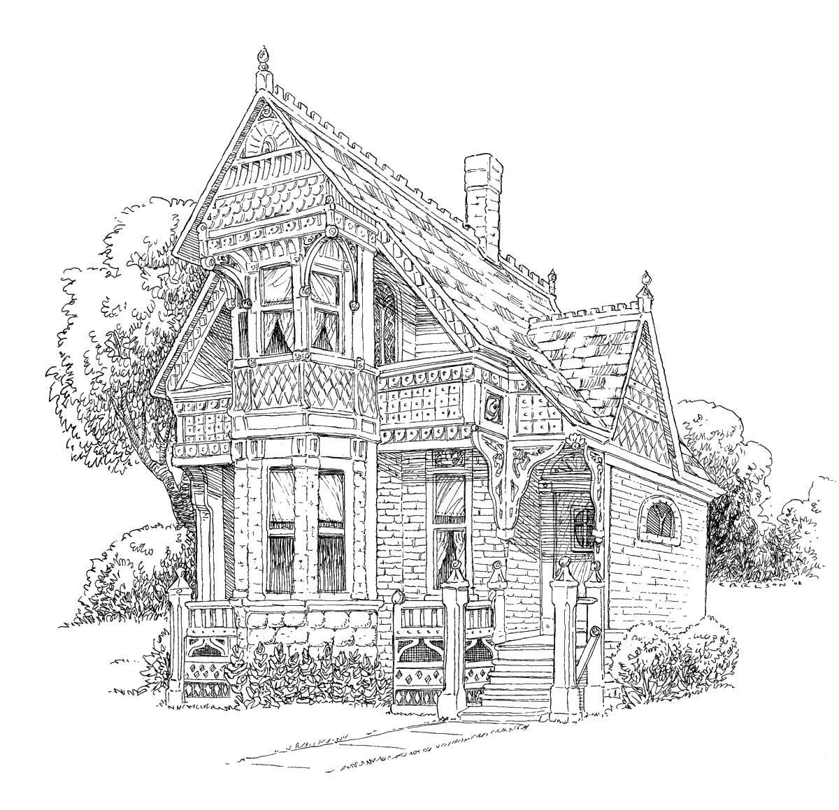 Раскраска Уютный старый дом Скачать Дом, здание.  Распечатать ,здания,