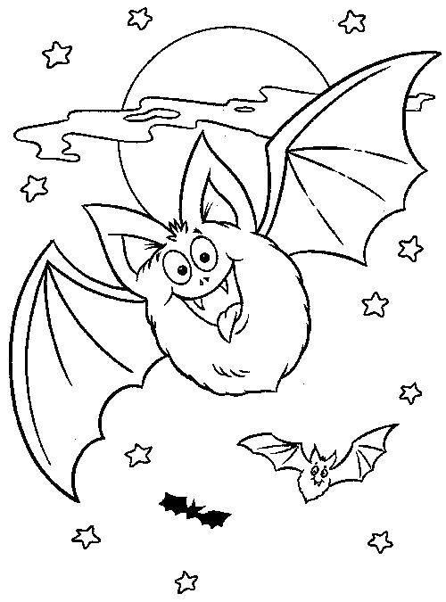 Название: Раскраска Летучая мышка летит у луны. Категория: Хэллоуин. Теги: Хэллоуин, летучая мышь.