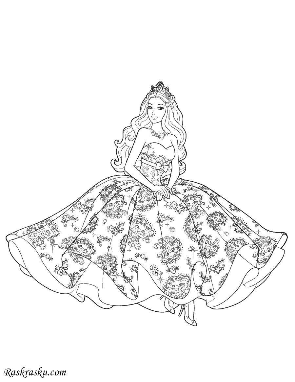 раскраски платья раскраска принцесса в узорчатом платье