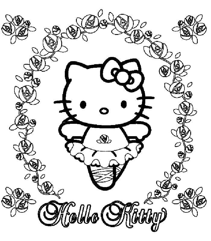 Раскраска Hello Kitty Скачать гимнастика, гимнастка, спорт.  Распечатать