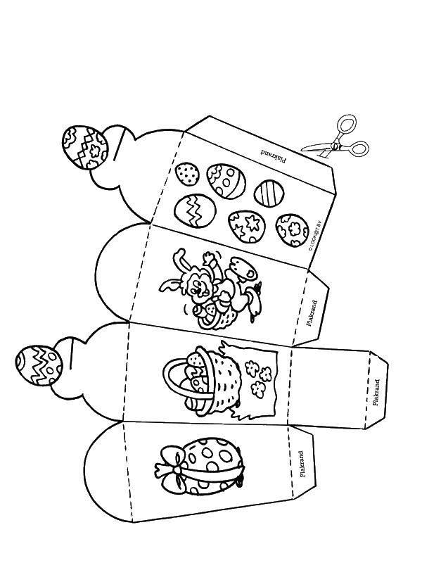 Раскраска Коробка с пасхальными яйцами и кроликом. Скачать пасха, яйца, кролик.  Распечатать ,пасхальный кролик,