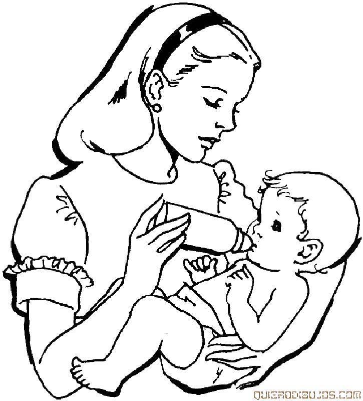 Раскраска Мама кормит ребенка Скачать мама, ребенок, родители.  Распечатать ,мама с ребенком,
