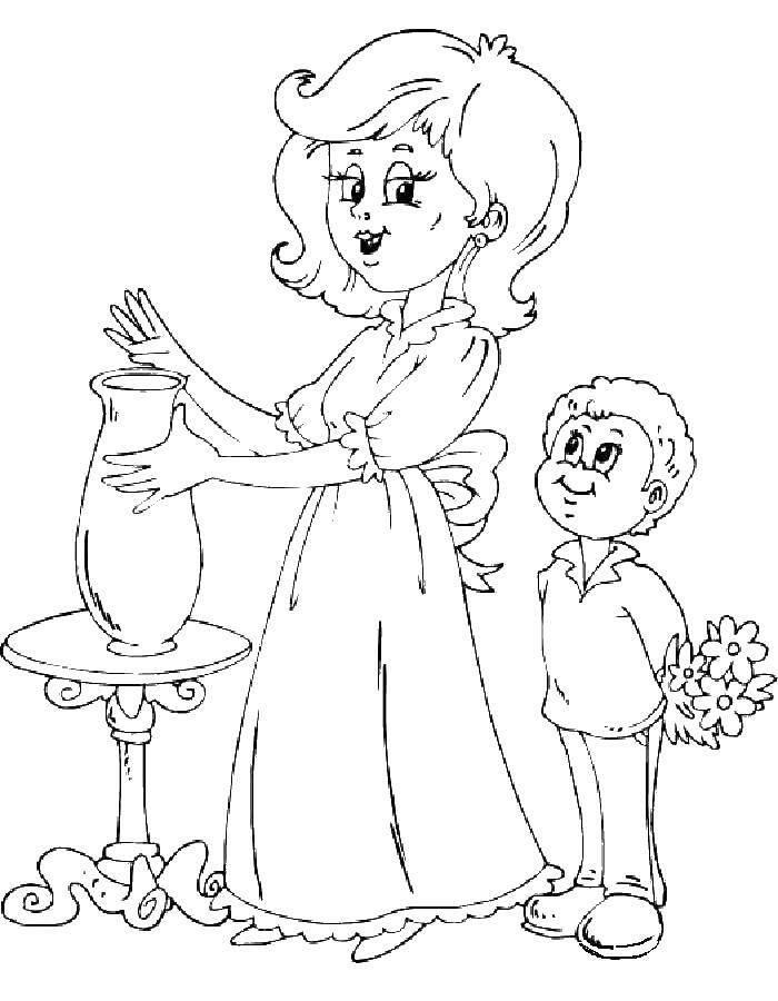 Раскраска Мама с ребенком Скачать мама, ребенок, цветы.  Распечатать ,мама с ребенком,