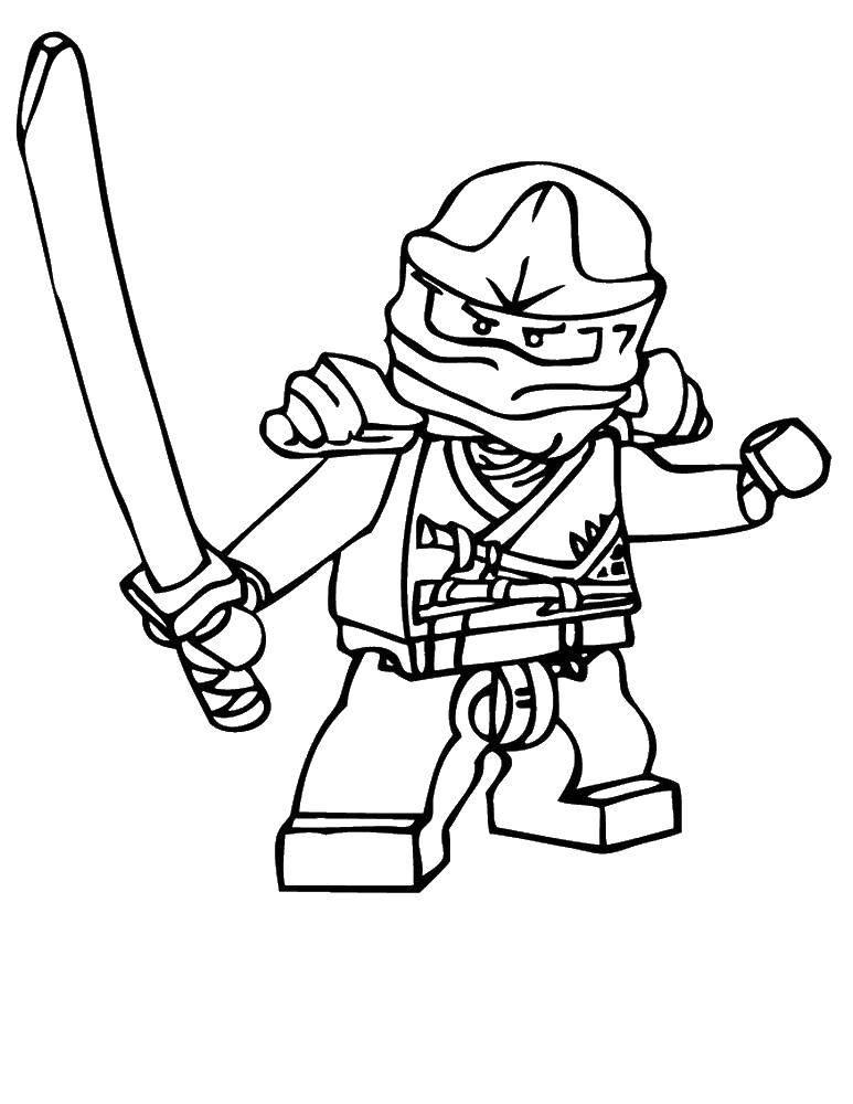 Раскраска Ниндзя с мечом Скачать ниндзя, воин, лего, конструктор.  Распечатать ,ниндзя,