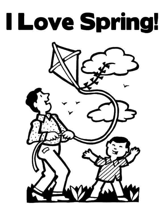 Раскраска Папа и сын пускают воздушного змея. Скачать папа, сын, книга.  Распечатать ,Весна,