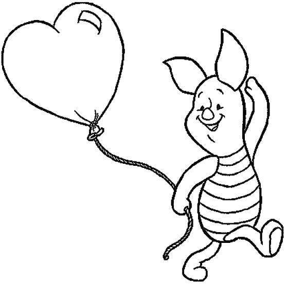 Раскраска Пятачок с шариком сердечко Скачать Винни Пух, пятачок.  Распечатать ,Диснеевские мультфильмы,