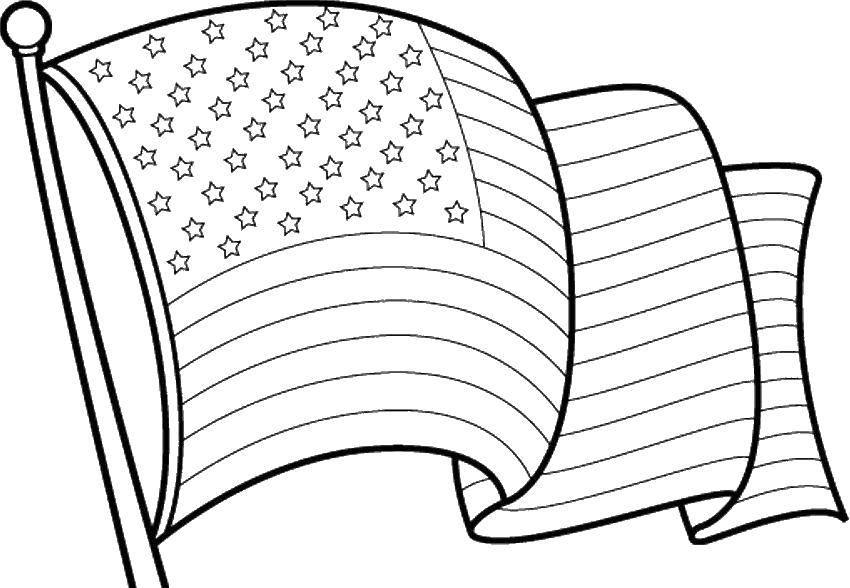 Раскраска Развивающийся флаг америки Скачать флаг, Америка, звезды.  Распечатать ,америка,
