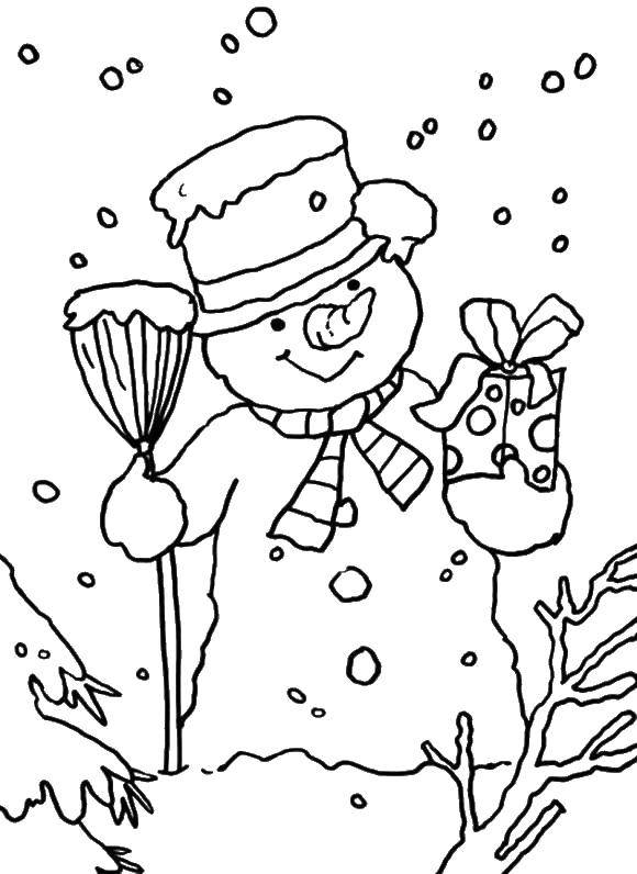 Раскраска Снеговик с подарком. Скачать снеговик, зима.  Распечатать ,раскраски зима,