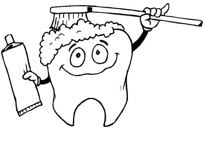 Раскраска Зуб и зубная щетка Скачать ,зуб, зубная паста, щетка,.  Распечатать