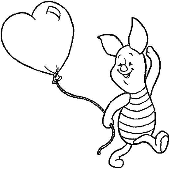 Название: Раскраска Пятачок бегает с шариком. Категория: мультфильмы. Теги: Персонаж из мультфильма.