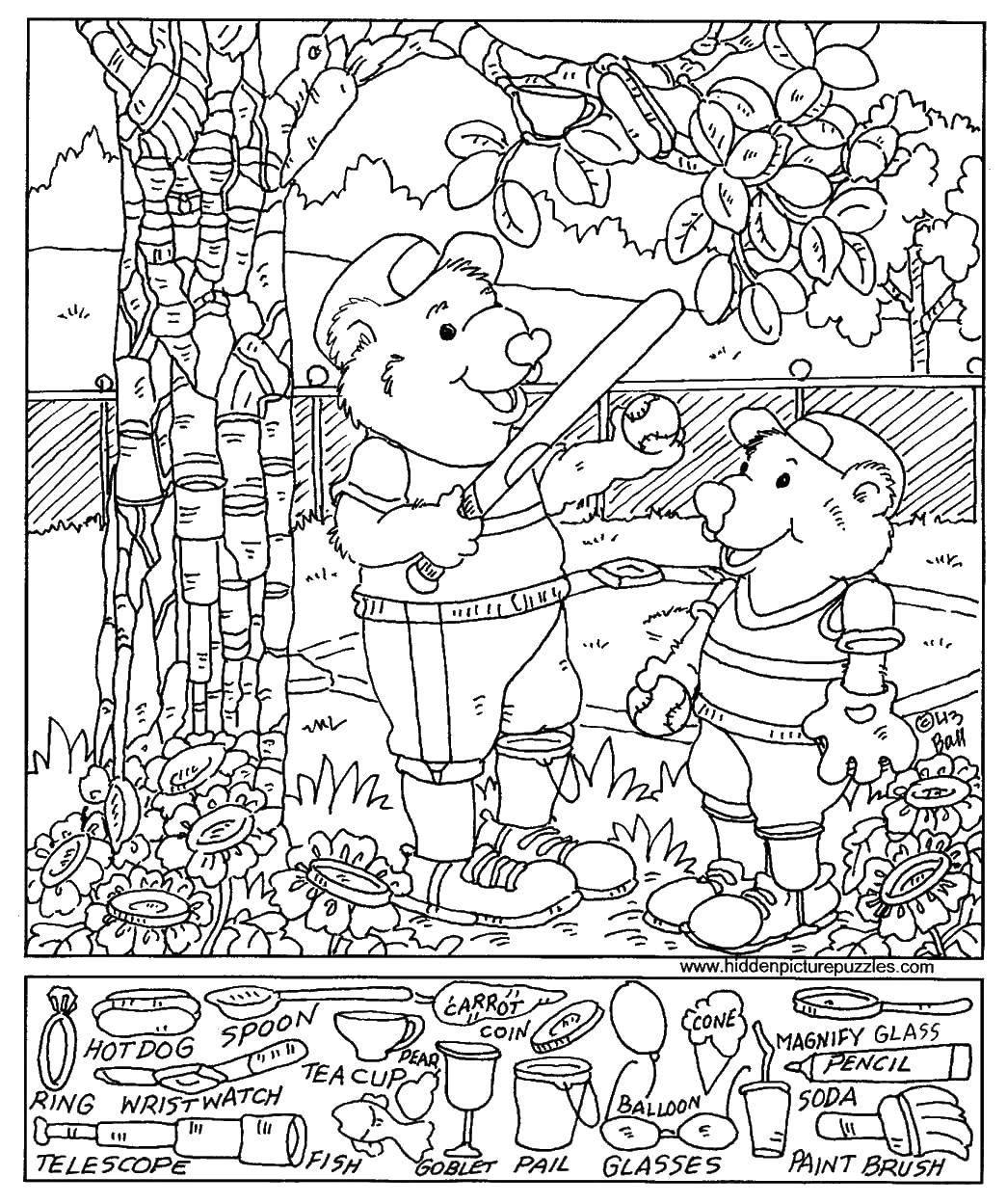 Раскраска Два медведя играют в бейсбол Скачать ,медведи,бита, мяч, дерево,.  Распечатать
