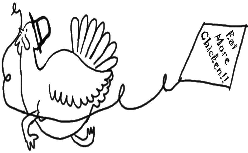Раскраска Ешьте больше курицы Скачать Праздник.  Распечатать ,день благодорения,