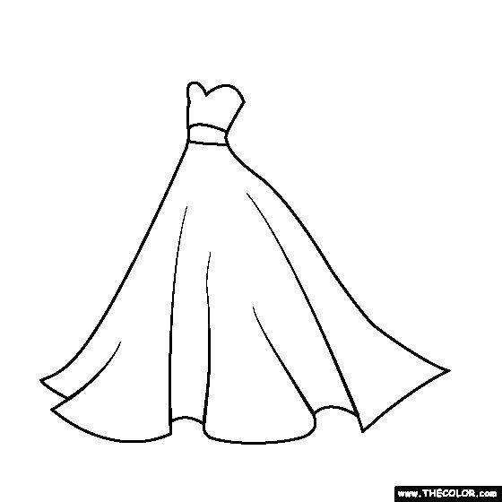 Раскраска Контур платья свадебного Скачать платье, контур.  Распечатать ,Свадьба,