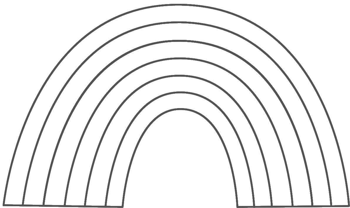 Раскраска Контур радуги Скачать радуга, контур, линии.  Распечатать ,Радуга,