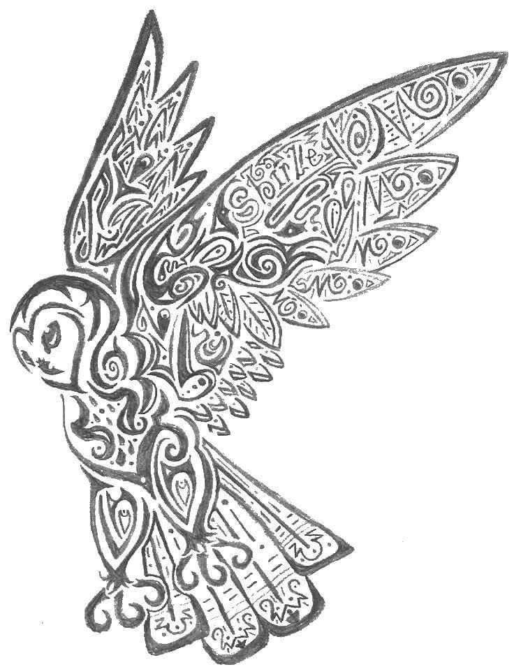 Раскраска Красивая сова в узорах Скачать Антистресс.  Распечатать ,Антистресс,