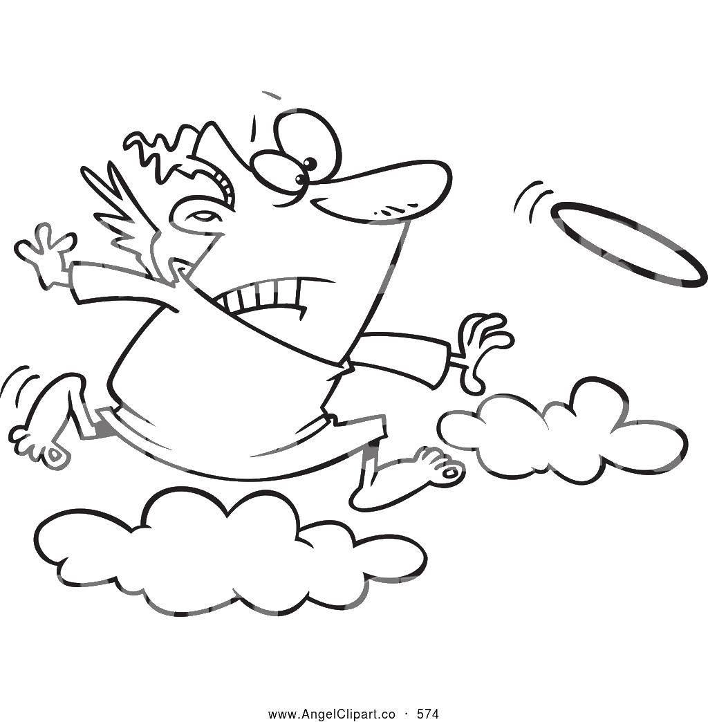 Раскраска Ангел бежит за нимбом Скачать ангел, нимб, облако.  Распечатать ,Контуры ангела для вырезания,