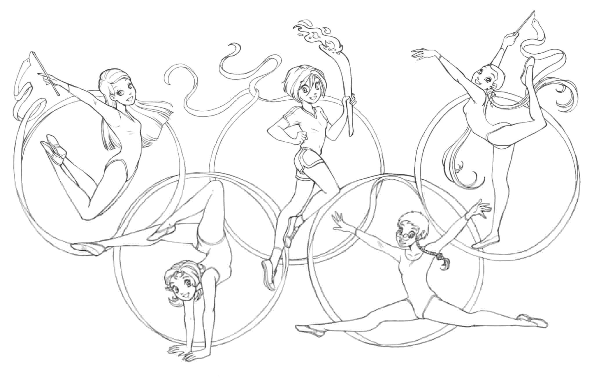 Раскраска Феи гимнастки Скачать Олимпиада.  Распечатать ,олимпийские игры,