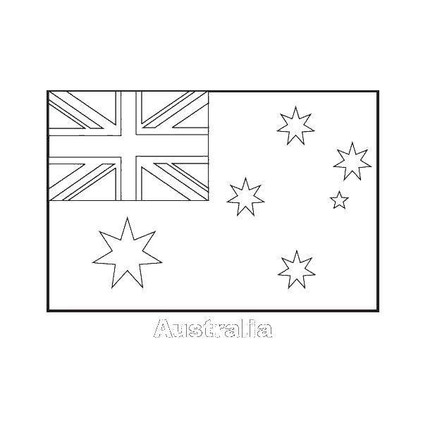 Раскраска Флаг австралии Скачать ,флаг, Австралии, звезды,.  Распечатать