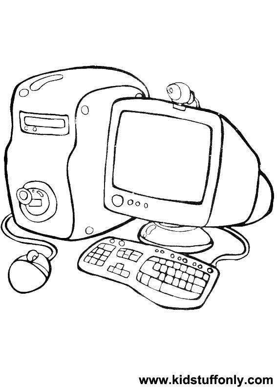 Раскраска Компьютер с камирой Скачать Техника.  Распечатать ,раскраски,